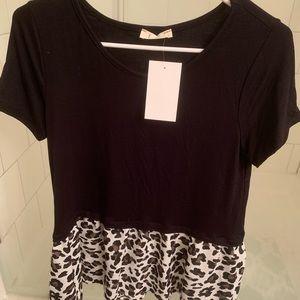 Tops - Beautiful black and animal print blouse